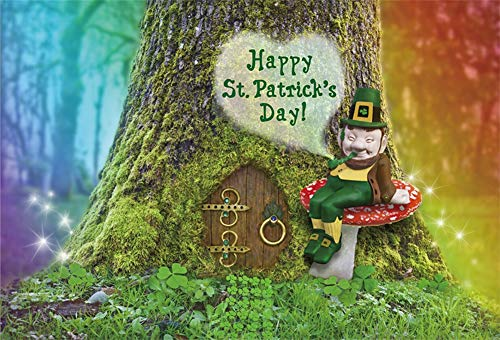 (Yeele 5x3ft Happy St. Patrick's Day Backdrops for Photography Lucky Irish Shamrock Green Clover Background Magic Forest Elf Dwarf Fairy Door Mushroom Leprechaun Kids Photo Booth Shoot Studio Props )