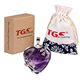 TGS Gems Vogue Amethyst Tumbled Chakra Gemstone Cover Alloy Heart-Shaped With Flower Edge Pendant