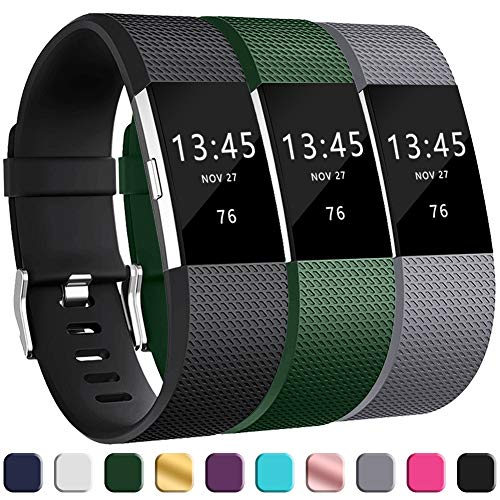2 Fastener Gray Green - GEAK Replacement Bands for Fitbit Charge 2, Adjustable Classic Wristbands for Fitbit Charge 2, Small Black Gray Green