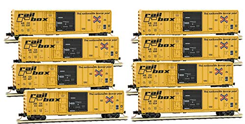 (Micro-Trains MTL N-Scale 50' Combo Rib Side Box Cars Railbox - Runner 8-Pack)