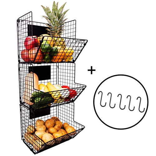 3 Tier Hanging Wire Basket - Wall Mounted Storage Bins with Adjustable Chalkboards and S-Hooks - Fruit and Pantry Organization - Heavy Duty Iron Metal - Gift Box (Storage Organization Home Metal Baskets)