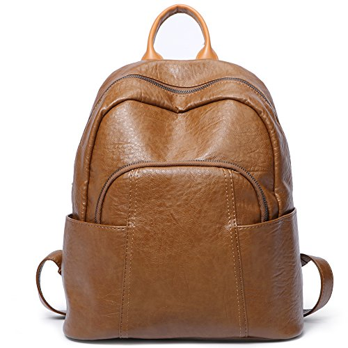 Women Backpack Purse PU Leather Fashion Ladies Shoulder Bag Waterproof Large Travel Backpack For Girls School Bag brown by Cluci