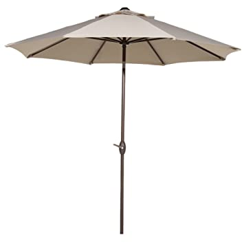 Great Abba Patio 9u0027 Patio Umbrella Outdoor Table Market Umbrella With Push Button  Tilt And Crank