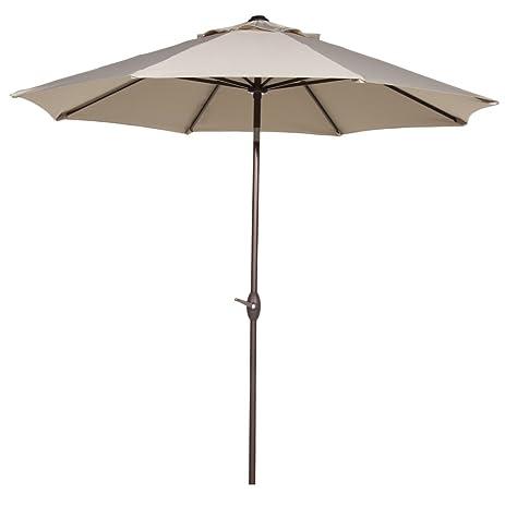 Abba Patio 9u0027 Patio Umbrella Outdoor Table Market Umbrella With Push Button  Tilt And Crank