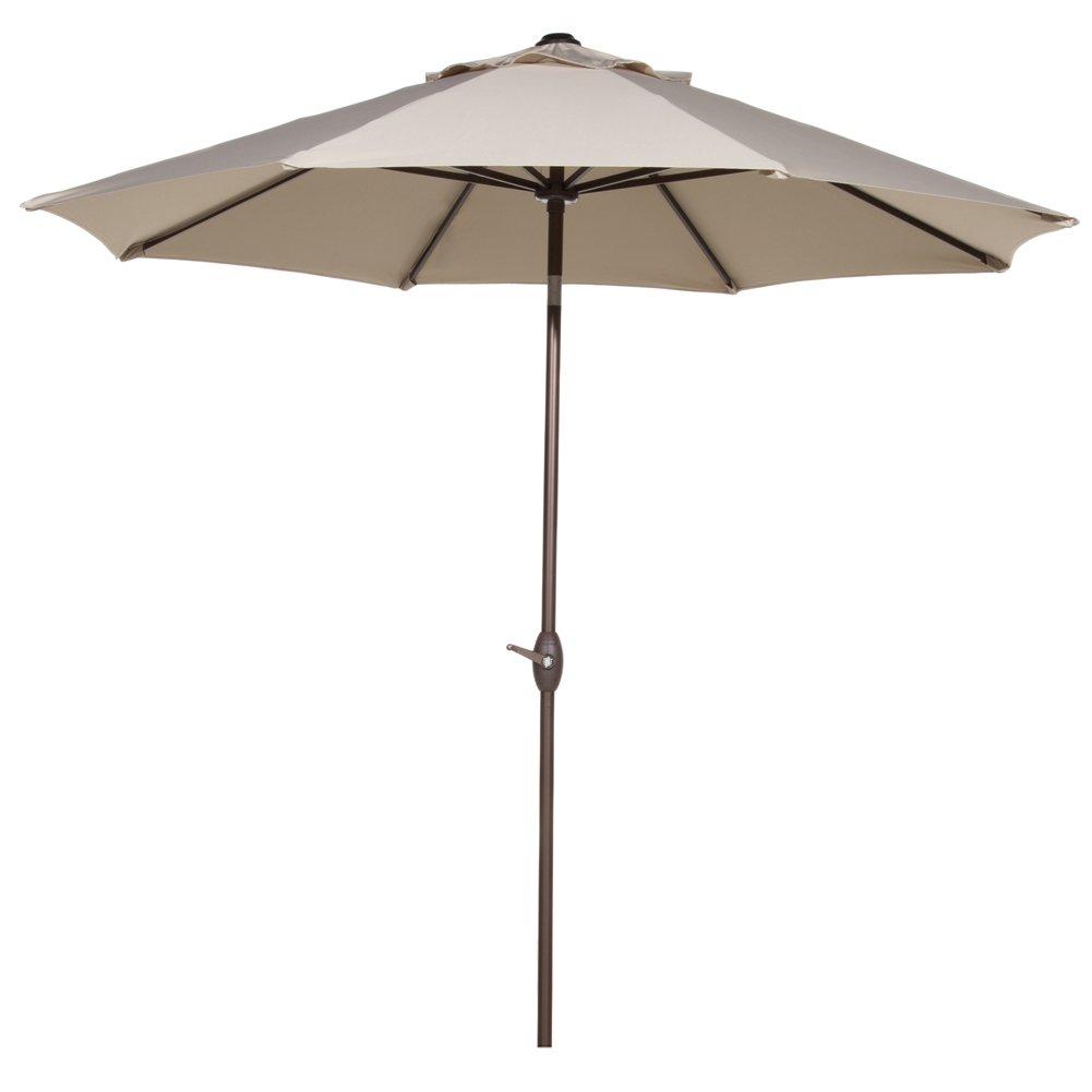 Abba Patio Outdoor Patio Umbrella 9 Feet Patio Market Table Umbrella with Push Button Tilt and Crank, Beige