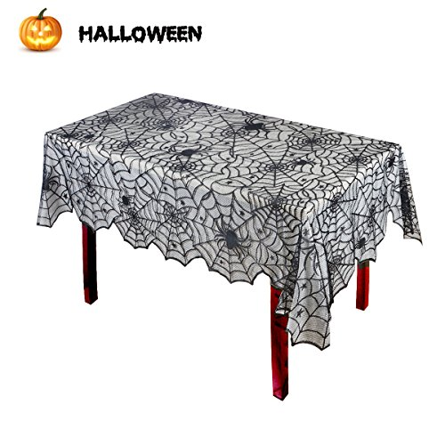 Halloween Tablecloth, Spider Web Table Cover Cobweb Lace Table Decoration Supplies for Festive Party by HoveBeaty (Black) (Tablecloths Halloween)