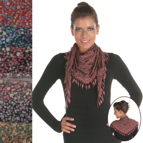 Angelina Ladies Scarves [24 Pieces] *** Product Description: Angelina-Brand, Floral Triangle Light Scarf With Tassel. 100% Polyester. Blue, Pnk, Coffee, Blk And Navy ***