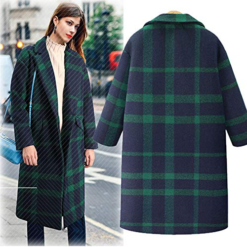 Orangeskycn Long Trench Coats for Women Plaid Lapel Wool Trench Jacket Overcoat]()