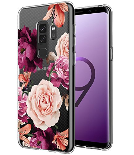 Galaxy S9 Plus Case, Galaxy S9+ Case with flowers BAISRKE Slim Shockproof Clear Floral Pattern Soft Flexible TPU Back Cove for Samsung Galaxy S9+ Plus [Purple Pink]