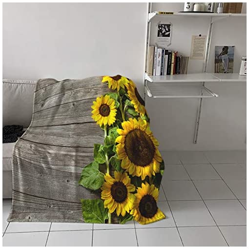 Bedroom Flannel Fleece Throw Blanket for Couch- 39″ x 49″, Rustic Wood Summer Blooming Sunflower Farmhouse Theme Blanket Super Soft Cozy Plush Microfiber Fluffy Blanket Lightweight Warm Bed Blanket farmhouse blankets and throws