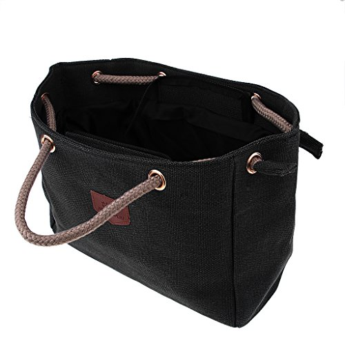 Handle Prettyia Bag Black Simple Tote Hobo Shopping Brown P Women's as Handbags Bag Top Described Canvas Crossbody Shoulder Work RAPpq