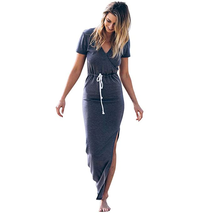 VJGOAL Mujeres Elegantes Personalidad de la Moda Slender Manga Corta Cintura Línea Lápiz Hendidura Vestido de