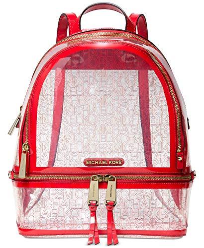 Michael Kors Rhea Zip Backpack (Red/Clear) (Clear Michael Kors Handbags)