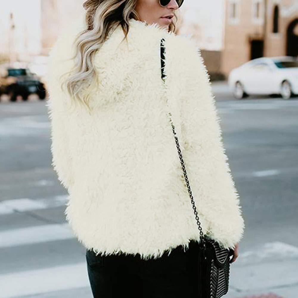 AOJIAN Women Jacket Long Sleeve Outwear Pure Color Open Front Plush Fuzzy Hooded Outerwear Coat