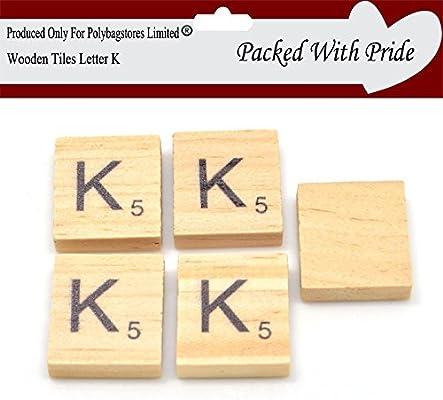 Pack de 10 – Scrabble Azulejos de madera con letras de color negro – Azulejos se producen y empaquetado especialmente para polybagstores limitada® Letter K: Amazon.es: Hogar