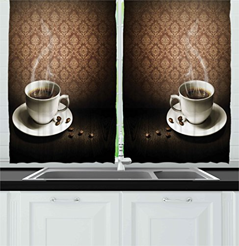 Ambesonne Coffee Decor Collection, A Cup of Hot Coffee on Wooden Table Damask Pattern on the Wall Romantic Vintage Art, Window Treatments for Kitchen Curtains 2 Panels, 55X39 Inches, Brown White