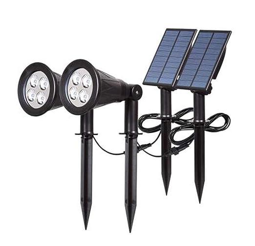 Z-GROSH Luz Solar LED, Luz Solar para jardín/Proyector de Suelo 90 ...