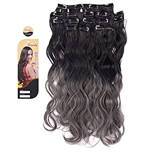 "Creamily(TM) Natural Black To Dark Grey For Full Head Synthetic Clip In Hair Extensions Curly Accessories 8 Pieces 18"" 3-Tone Ombre Colored"