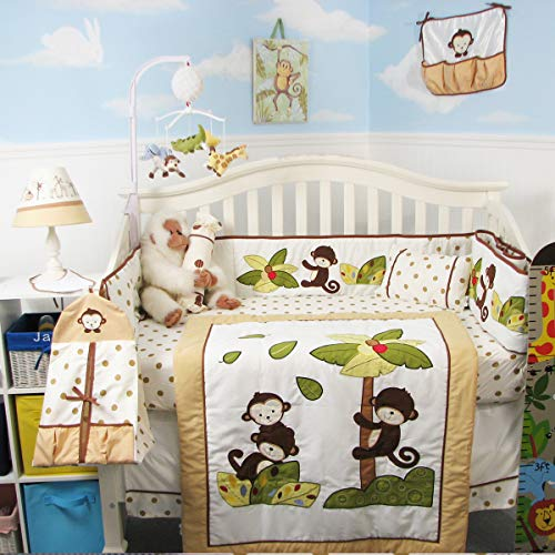 SoHo Monkey Coconut Tree Baby Crib Nursery Bedding Set 13 pcs included Diaper Bag with Accessories