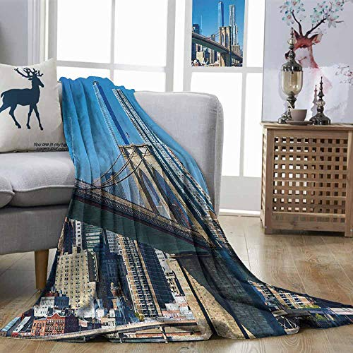 Zmstroy Fashion Throwing Blanket United States Lower Manhattan Skyline Brooklyn Bridge in New York City Famous Landmark Pale Blue Tan Plush Throw Blanket W54 xL84]()