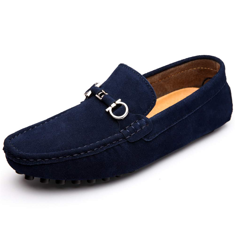 Xiaojuan-schuhe, Männer Klassische Casual Fahren Lloafers Weichem Rostfreiem Metall Wildleder Boot Mokassins (Warm Optional), (Farbe : Warm Blau, Größe : 46 EU) Blau