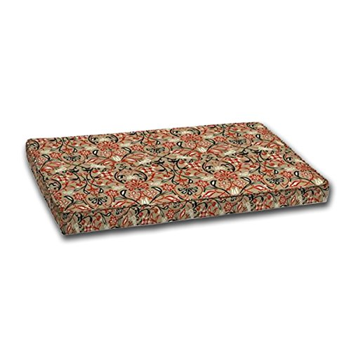 Outdoor Loveseat Cushion 24x45.5x4, Box Edge and Single Welt. Zipper. Polyester fabric in Tulip Scroll by by Comfort Classics Inc.