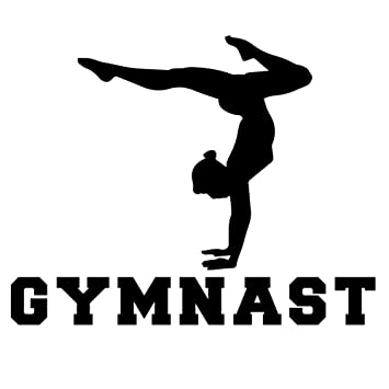 Gymnastics Silhouette on sports car clip art