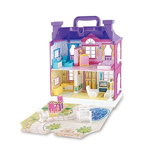 Ballylelly Casa delle bambole con mobili Casa delle bambole in miniatura Assemblaggio di giocattoli per bambini (Colore: viola)