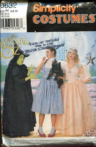 Simplicity Wizard of Oz Costume Pattern ~ Dorothy, Wicked Witch of the West, Glinda the Good Witch ~ 6.8.10 -