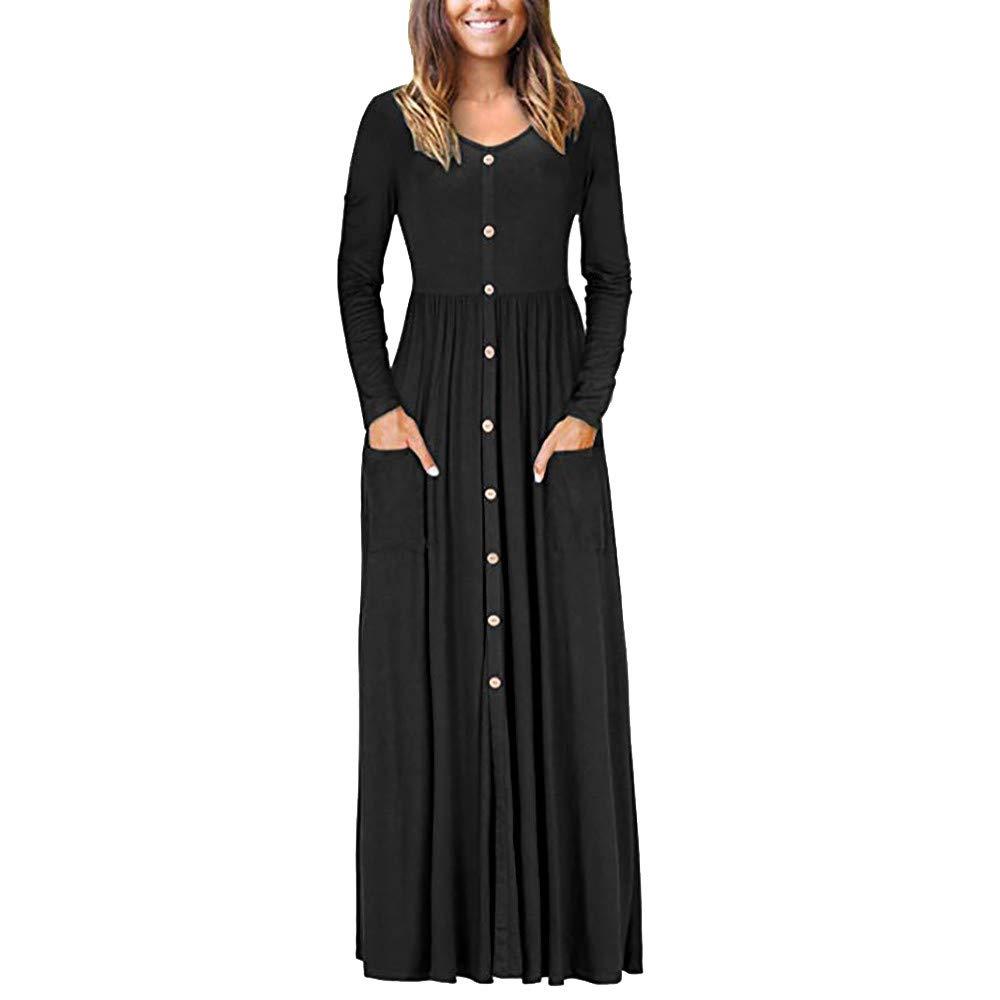 Womens Long Dresses Hot Sale,DEATU Ladies Autumn O Neck Casual Long Sleeve Ankle Length Party Dress(Black,XL)