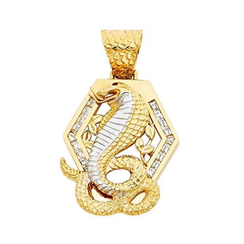 14k Two Tone Gold CZ Viper Snake Pendant