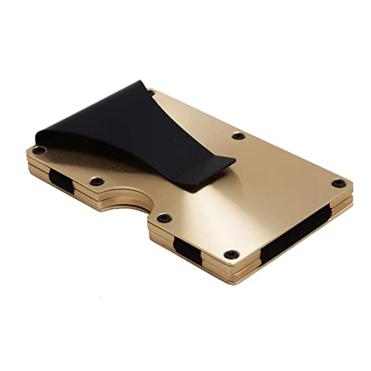Metal Minimalist Wallet for men with Money Clip - Slim Wallet Credit Card Holder RFID Blocking