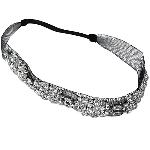 niceeshop(TM) Fashion Elegent Lace Rhinestone Women Hair BandsBlack