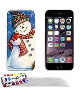 Carcasa flexible Ultrafina Blanca Original de MUZZANO estampada Navidad 1 para APPLE IPHONE 6 PLUS 5.5 POUCES + 3 películas de protección UltraClear para la pantalla