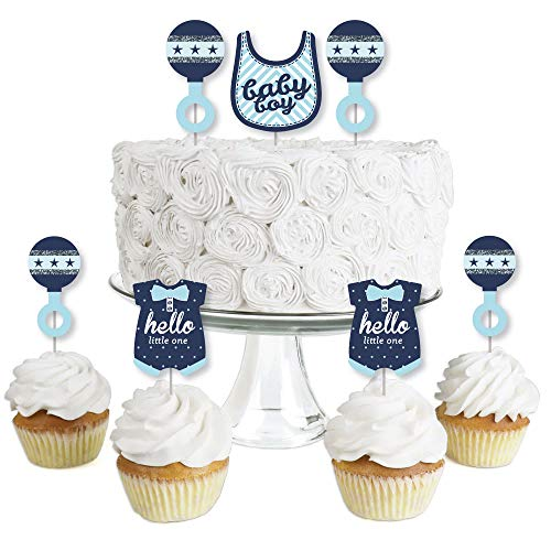 Hello Little One - Blue and Silver - Dessert Cupcake Toppers - Boy Baby Shower Clear Treat Picks - Set of 24