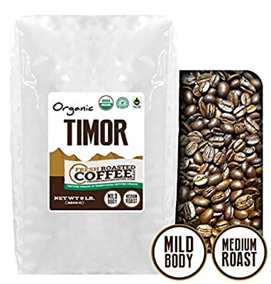 Timor Organic Fair Trade Coffee, Whole Bean, Fresh Roasted Coffee LLC