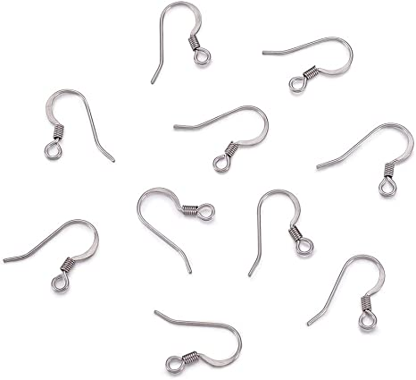 Ear Wires with Ball and Coil 200 PCS Earring Hooks Hypo-allergenic Fish Earring Hooks for DIY Earrings 18 mm Silver