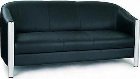 Napa Quality Leather Faced Three Seater Tub Sofa Black
