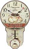 running 13BL24011 Reloj Vintage de Pared, Café con Péndulo