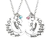Power Wing I Love You to The Moon and Back Mother Daughter Necklace Love Heart Pendant Mom Christmas Jewelry (Mother Daughter 01)
