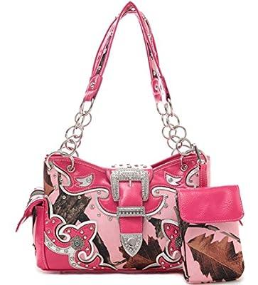 Cowgirl Trendy Western Concealed Carry Camouflage Belts Purse Handbag Shoulder Bag Wallet Set Fuchsia