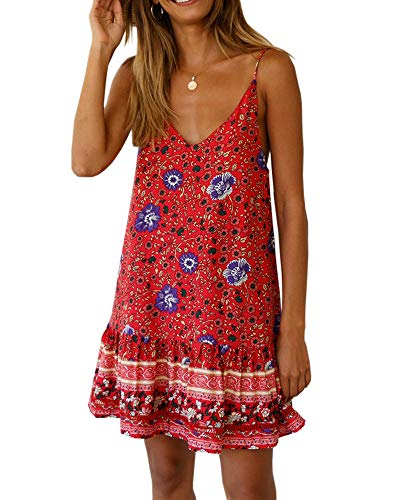 (Imysty Women's Boho Print Spaghetti Strap Sexy V Neck Sleeveless Backless Summer Beach Mini Dress)