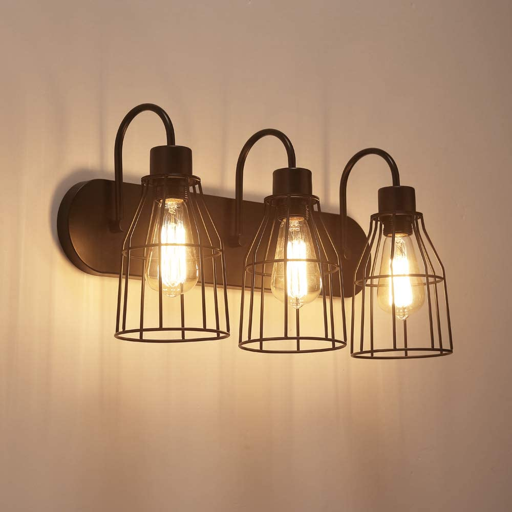 ZZ Joakoah 3-Light Bathroom Vanity Light, Industrial Metal Cage Wall Sconce Vintage Wall Lamp Light Fixture for Bathroom Kitchen Living Room Vanity Hallway.