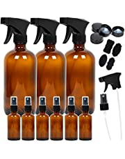Youngever 9 Pack Empty Amber Glass Spray Bottles, Refillable Container for Essential Oils, Cleaning Products, or Aromatherapy, 3 Pack 16 Ounce, 6 Pack 2 Ounce