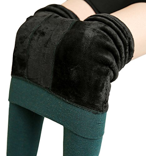 Thermal Womens Pants - Ouye Women's Fleeced Lined Thick Stretchy Thermal Leggings , Dark Green, One Size
