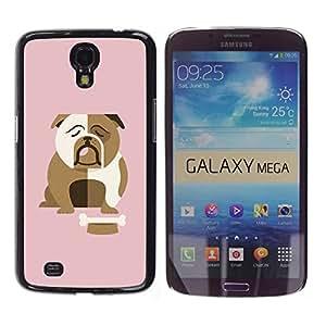 TopCaseStore / la caja del caucho duro de la cubierta de protección de la piel - Bulldog British English Cartoon Pink - Samsung Galaxy Mega 6.3 I9200 SGH-i527