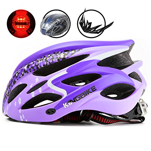 KINGBIKE Adult Bike Helmet Ultralight with Bicycle Helmets Rain Cover and Safety Rear Led Light Visor for Men Women Cycling Biking(Purple) Purple Womens Helmet