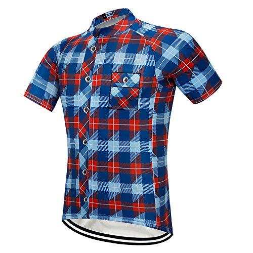 ArmoFit Men's Cycling Jerseys Sport Short Sleeves Bike Shirts Full Zipper Bike Jersey with Pocket