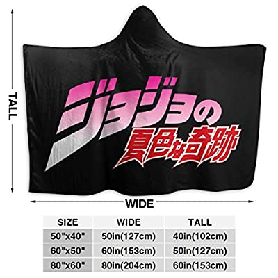 Andea JoJo Bizarre Adventure Hooded Blanket Warm Wearable Novelty Cape for Kids Adults 60x50 Inch: Kitchen & Dining
