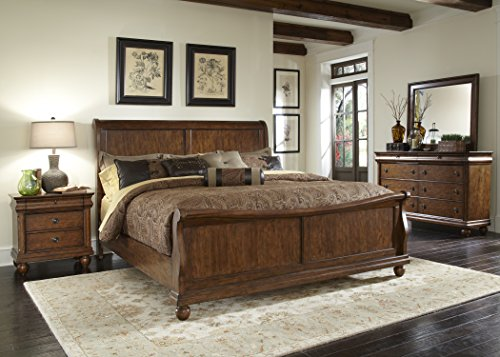Liberty Furniture 589-BR21H Rustic Traditions Sleigh Headboard, Queen, Rustic Cherry